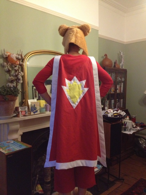 Superted fancy dress outfit from the back